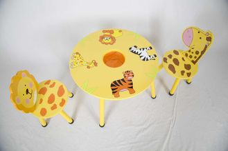 Wooden Animal Themed Childrens Table And Chairs With Hidden Pocket